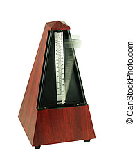 Metronome isolated on white, with blurred ppendulum showing...
