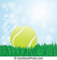 tennis ball on grass - illustration of tennis ball on grass...