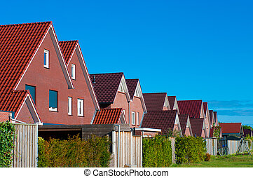 new housing - row of newly build houses in the Netherlands