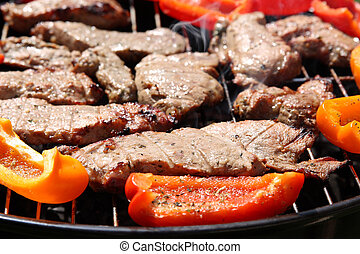 Grilling meat and vegetables, barbecue