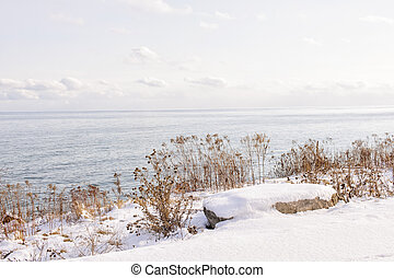 Winter shore of lake Ontario - Snowy winter shore of lake...