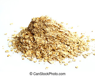 Pile of rolled oats isolated on white