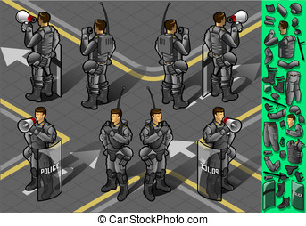 isometric set of eight policemans standing - Detailed...