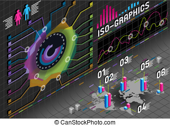 infographic flower histogram set elements in various colors...