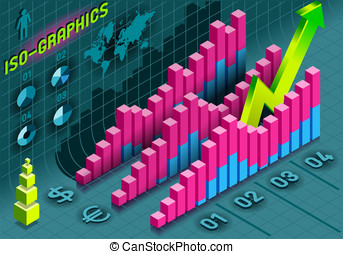 Isometric Infographic Histogram Set Elements in Various...