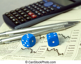 Gambling on the stock exchange concept - Calculator pens...