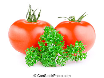 Two red juicy tomatoes and fresh parsley isolated on a white background