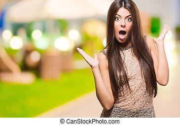 femininas, modelo, com, surpreendido, expressão