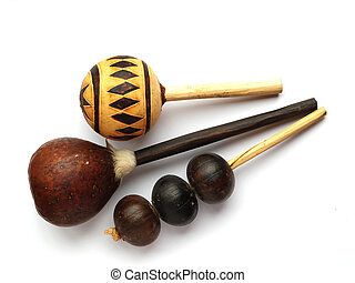Gourd rattles - Collection of traditional gourd rattles...