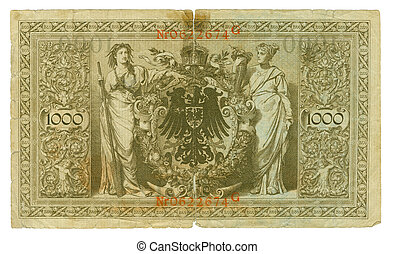 Back view of the old German banknote