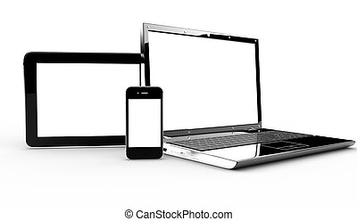 Pc, tablet and phone isolated on a white background