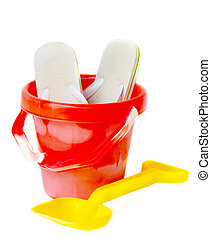 Bucket, spade and flip flops - Red bucket, yellow spade and...