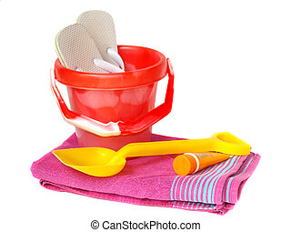 Bucket,spade,towel sun-cream and flip-flops - Brightly...