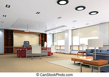 3d modern office room - an office room with nobody 3D render...