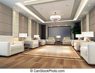 3d reception room rendering - a reception room3d render