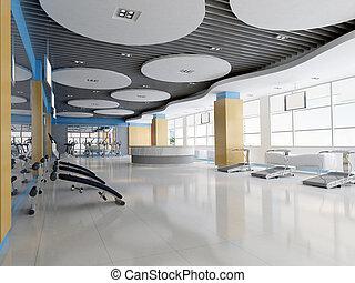 3d indoor gymnasium - Indoor modern gymnasium.3D render