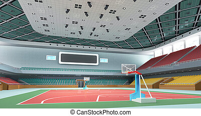 3d indoor gymnasium - Indoor modern gymnasium -...