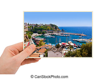 Antalya Turkey photography in hand my photo isolated on...