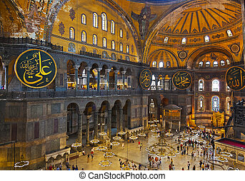 Hagia Sophia interior at Istanbul Turkey - architecture...