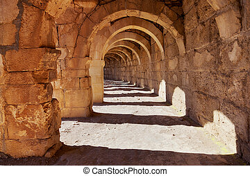 Galery at Aspendos in Antalya, Turkey - archaeology...
