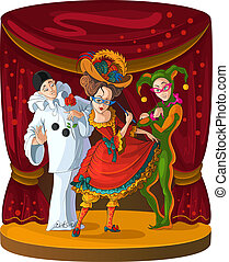 Columbine, Harlequin and Pierrot - theater commedia...