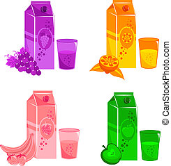 juices - collection of different fruit juices in carton...