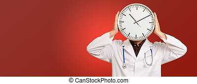 Portrait Of Doctor Hiding Face With Clock Isolated On Red...