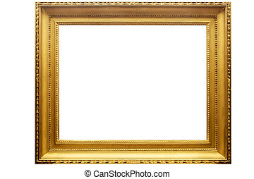 Rectangular Golden Picture Frame with Clipping Path - Empty...