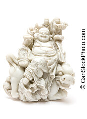 Jade Buddha - Jade buddha sitting on a dragon Antique statue...