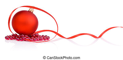 One red christmas ball, beads and tape Isolated on white...