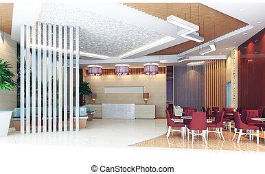 3d hall rendering, reception room - modern design interior...