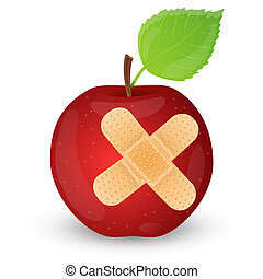 Red apple with adhesive bandage.