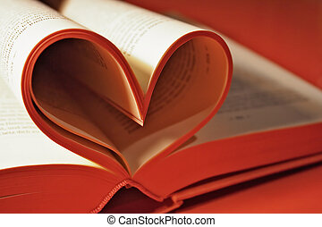 Romance Novel - Heart shaped book pages.