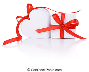 Valentines Day gift in white box and heart red ribbon isolated on white