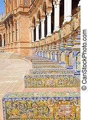 benches of Plaza de España, Sevilla, Spain - tiled benches...