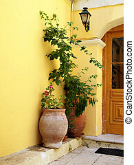 Plants in a doorway in Corfu - Two large potted plants next...