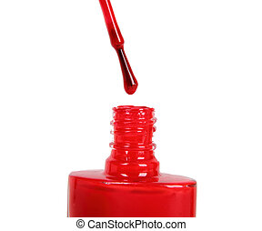 Intensive red dripping nail polish