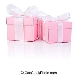 Two Pink gift box tied white satin ribbon bow Isolated on white background