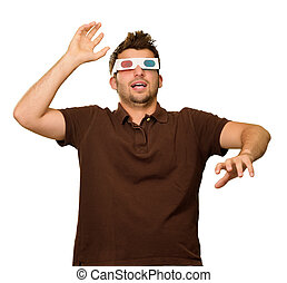 Young Man Wearing 3d Glasses Isolated On White Background