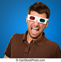 Scared Man Wearing 3d Glasses Isolated On Blue Background