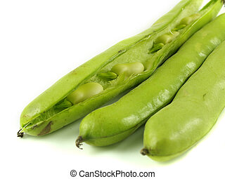 Broad beans - Broad bean pods with one open showing beans