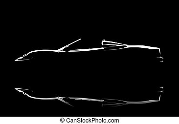 Illuminated car - An illuminated white car isolated on a...