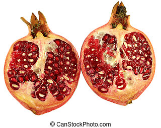 Pomegranate - Two halfs of pomegranate isolated on white