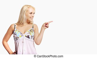 Blonde Woman Pointing at an Empty Ad Space