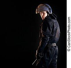 revolta, polícia, oficial, escuro
