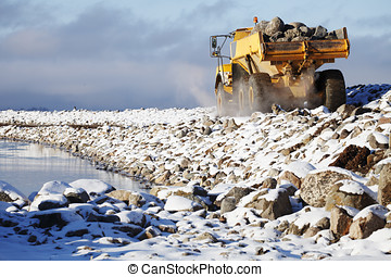 heavy truck drlivering rocks - large truck delivering rocks,...