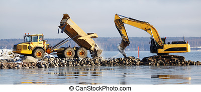 bulldozer and truck, dredging works, panoramic vire