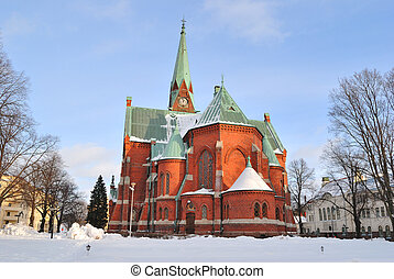Kotka, Finland. Lutheran Cathedral in winter - Kotka,...