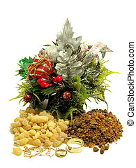 Gold frankincense and myrrh - Piles of frankincense and...