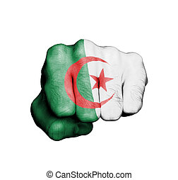 Front view of punching fist, banner of Algeria